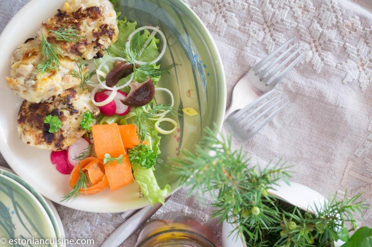 Turnip and Mushroom Fritters. Kaalika-seenekotletid