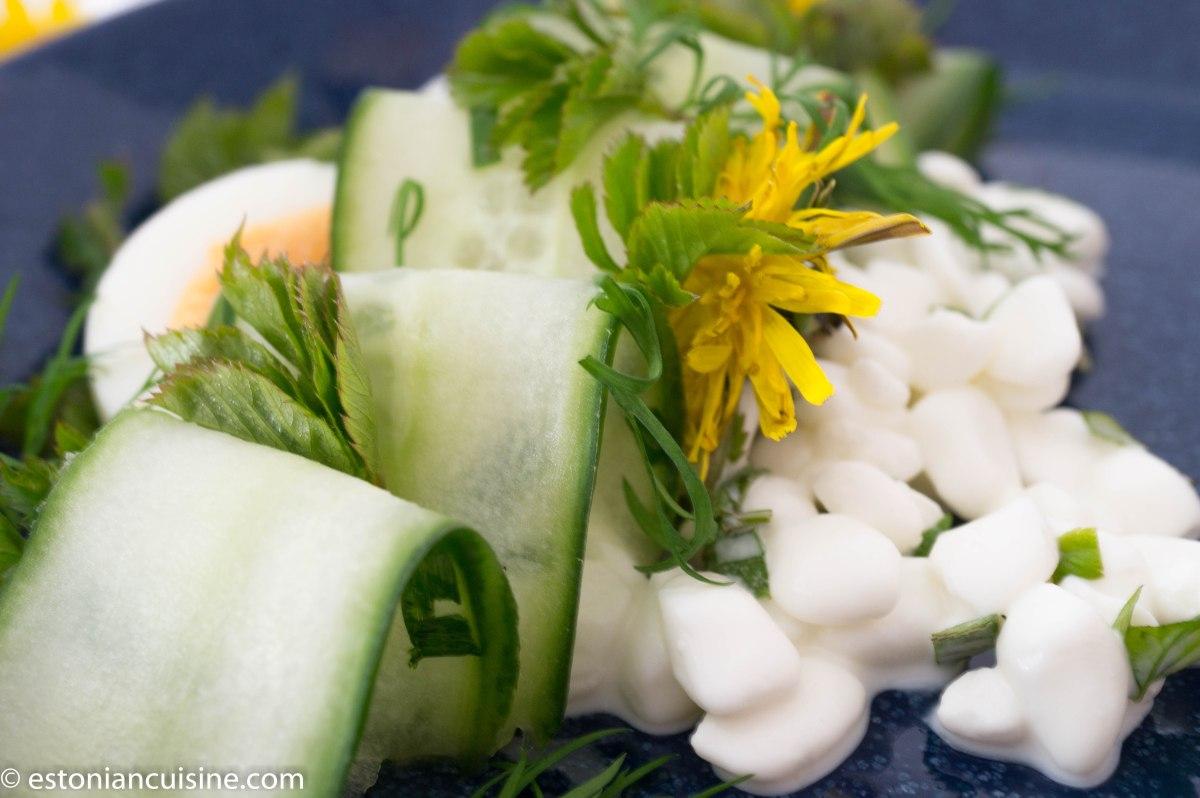 Goutweed Salad with Cottage Cheese. Kodujuustu-naadisalat